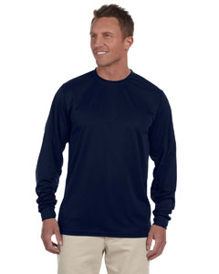 Navy 100% Polyester Moisture-Wicking Long-Sleeve T-Shirt