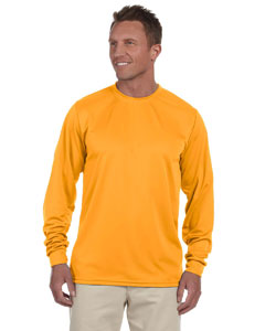 Gold 100% Polyester Moisture-Wicking Long-Sleeve T-Shirt