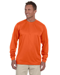 Orange 100% Polyester Moisture-Wicking Long-Sleeve T-Shirt