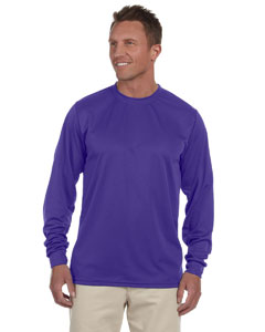 Purple 100% Polyester Moisture-Wicking Long-Sleeve T-Shirt