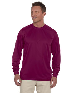 Maroon 100% Polyester Moisture-Wicking Long-Sleeve T-Shirt