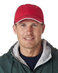 Red/ White Classic Cut Chino Cotton Twill Unconstructed Sandwich Cap