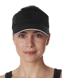 Black/ White Classic Cut Brushed Cotton Twill Sandwich Visor
