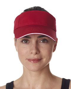 Red/ White Classic Cut Brushed Cotton Twill Sandwich Visor