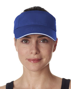 Royal/ White Classic Cut Brushed Cotton Twill Sandwich Visor