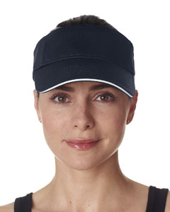 Navy/ White Classic Cut Brushed Cotton Twill Sandwich Visor