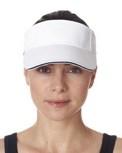 White/ Navy Classic Cut Brushed Cotton Twill Sandwich Visor