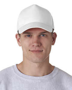 White Adult Classic Cut Cotton Twill 5-Panel Cap