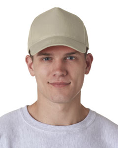 Khaki Adult Classic Cut Cotton Twill 5-Panel Cap
