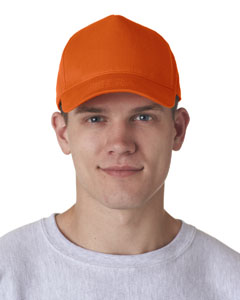 Orange Adult Classic Cut Cotton Twill 5-Panel Cap
