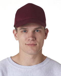 Maroon Adult Classic Cut Cotton Twill 5-Panel Cap