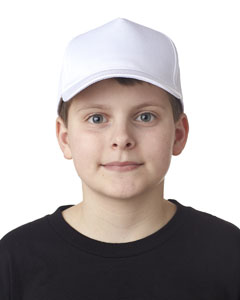 White Youth Classic Cut Cotton Twill 5-Panel Cap