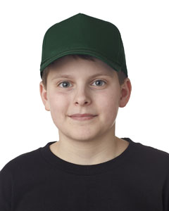 Forest Green Youth Classic Cut Cotton Twill 5-Panel Cap