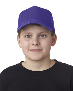 Purple Youth Classic Cut Cotton Twill 5-Panel Cap