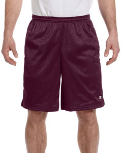 Maroon 3.7 oz. Long Mesh Shorts with Pockets