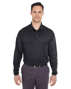 Black Adult Cool & Dry Long-Sleeve Mesh Piqué Polo