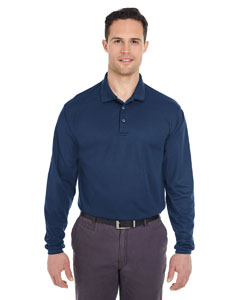 Navy Adult Cool & Dry Long-Sleeve Mesh Piqué Polo