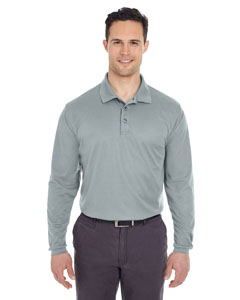 Silver Adult Cool & Dry Long-Sleeve Mesh Piqué Polo
