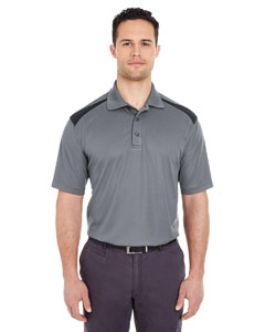 Charcoal/ Black Adult Cool & Dry 2-Tone Mesh Piqué Polo