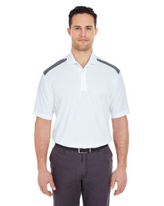 White/ Charcoal Adult Cool & Dry 2-Tone Mesh Piqué Polo