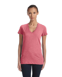 Lt Red Trblnd New Women's Triblend Short-Sleeve Deep V-Neck T-Shirt