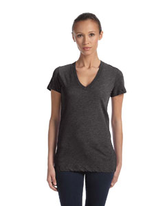 Charcoal Triblend Women's Triblend Short-Sleeve Deep V-Neck T-Shirt