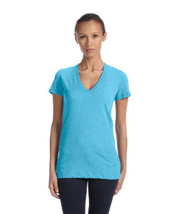 Aqua Triblend Women's Triblend Short-Sleeve Deep V-Neck T-Shirt