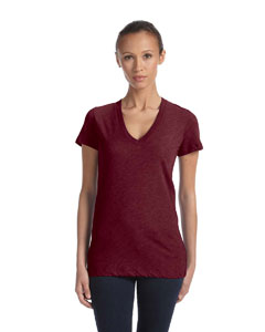 Maroon Triblend Women's Triblend Short-Sleeve Deep V-Neck T-Shirt