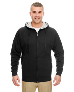 Black/ Hthr Grey Adult Rugged Wear Thermal-Lined Full-Zip Hooded Fleece