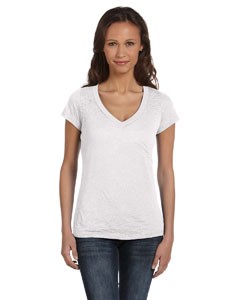 White Women's Burnout Short-Sleeve V-Neck T-Shirt