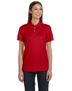 Red Women's Ringspun Piqué Polo