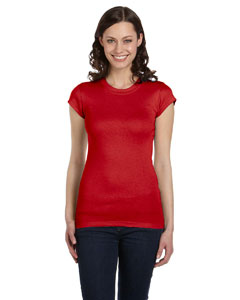 Red Women's Sheer Mini Rib Short-Sleeve T-Shirt