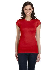Red Women's Sheer Mini Rib Short-Sleeve T-Shirt
