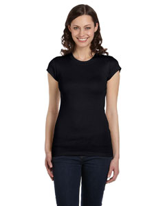 Black Women's Sheer Mini Rib Short-Sleeve T-Shirt