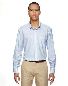 Light Blue 708 Men's Paramount Wrinkle-Resistant Cotton Blend Twill Checkered Shirt