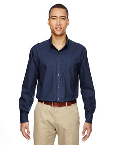 Classic Navy 849 Men's Paramount Wrinkle-Resistant Cotton Blend Twill Checkered Shirt