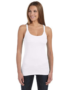 White Women's Sheer Mini Rib Thin Strap Tank