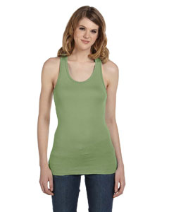 Moss Green Women's Sheer Mini Rib Racerback Tank