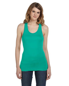Teal Women's Sheer Mini Rib Racerback Tank