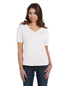 White Women's' Flowy Simple V-Neck T-Shirt