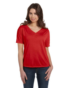 Red Women's' Flowy Simple V-Neck T-Shirt