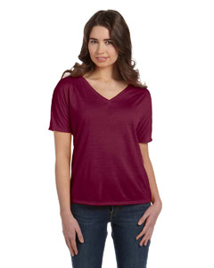 Maroon Women's' Flowy Simple V-Neck T-Shirt
