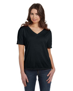 Black Women's' Flowy Simple V-Neck T-Shirt