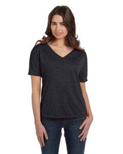 Dark Grey Heather Women's' Flowy Simple V-Neck T-Shirt