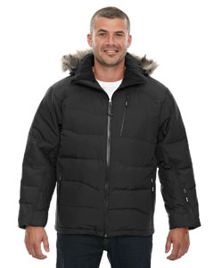 Black 703 Men's Boreal Down Jacket with Faux Fur Trim