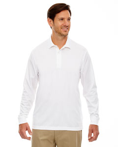 White 701 Men's Pinnacle Performance Long-Sleeve Piqué Polo