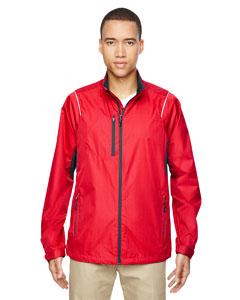 Flame Red 755 Men's Sustain Lightweight Recycled Polyester Dobby Jacket with Print