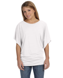 White Women's Flowy Draped Sleeve Dolman T-Shirt