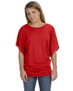 Red Women's Flowy Draped Sleeve Dolman T-Shirt