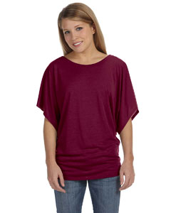 Maroon Women's Flowy Draped Sleeve Dolman T-Shirt